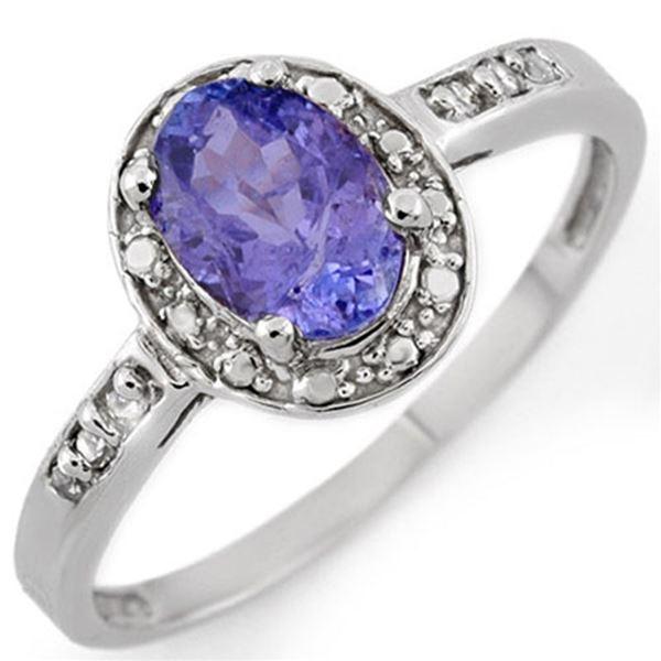 1.10 ctw Tanzanite & Diamond Ring 10k White Gold - REF-13X5A