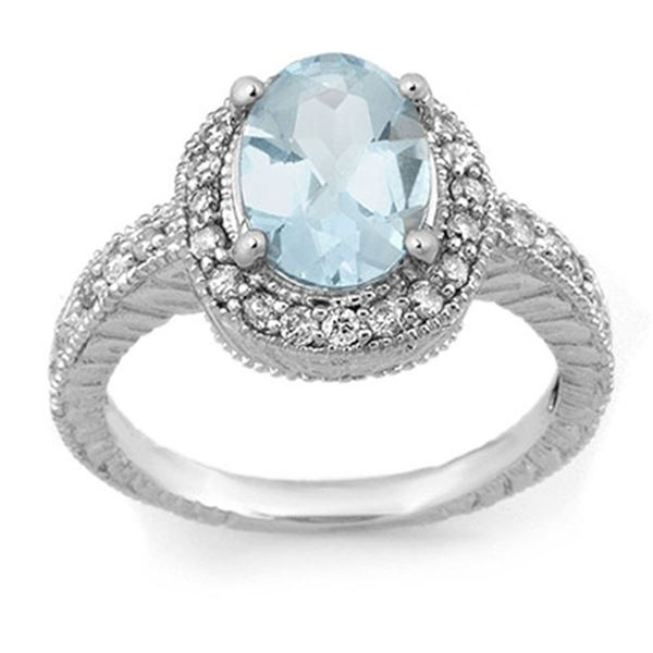 2.90 ctw Aquamarine & Diamond Ring 14k White Gold - REF-89K3Y