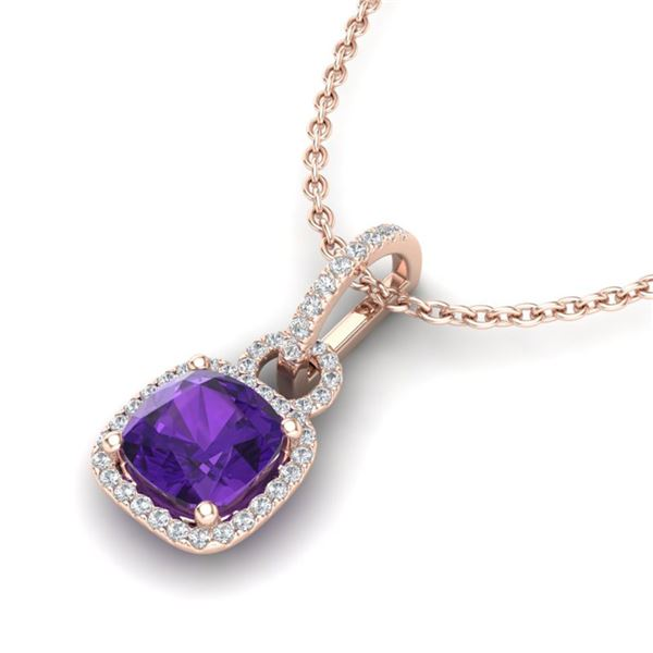 3.50 ctw Amethyst & Micro VS/SI Diamond Necklace 14k Rose Gold - REF-40X9A