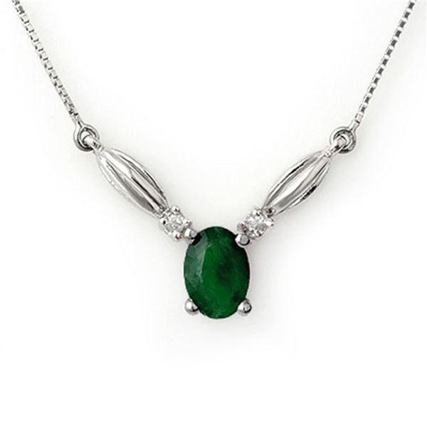 1.30 ctw Emerald & Diamond Necklace 10k White Gold - REF-15G2W