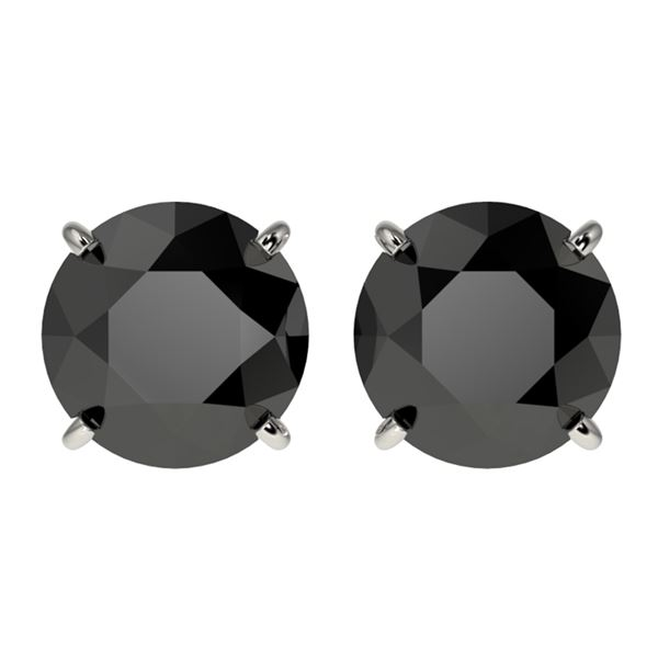 3 ctw Fancy Black Diamond Solitaire Stud Earrings 10k White Gold - REF-60W3H