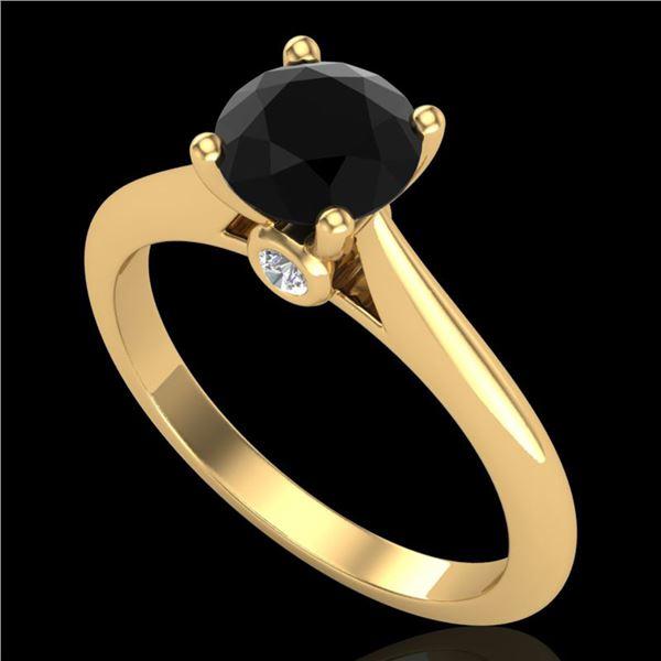1.08 ctw Fancy Black Diamond Engagment Art Deco Ring 18k Yellow Gold - REF-43G6W