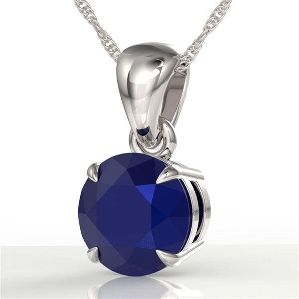 2 ctw Sapphire Designer Solitaire Necklace 18k White Gold - REF-18R8K