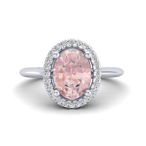 1.50 ctw Morganite & Micro VS/SI Diamond Ring Halo 18k White Gold - REF-53M2G
