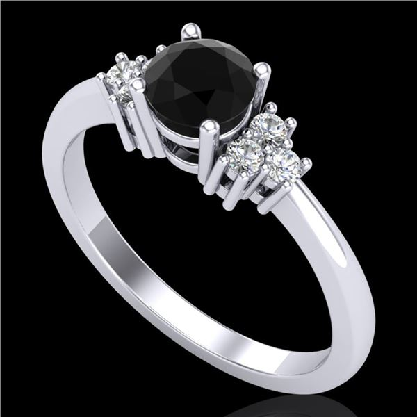 0.75 ctw Fancy Black Diamond Engagment Ring 18k White Gold - REF-55K2Y