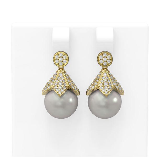 1.56 ctw Diamond & Pearl Earrings 18K Yellow Gold - REF-165K3Y