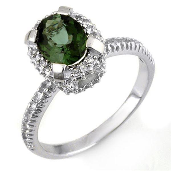 2.10 ctw Green Tourmaline & Diamond Ring 14k White Gold - REF-48W3H