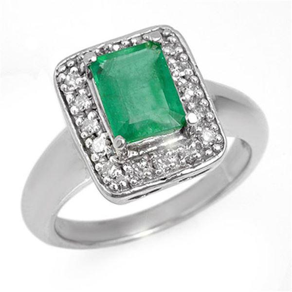 2.03 ctw Emerald & Diamond Ring 18k White Gold - REF-74X2A