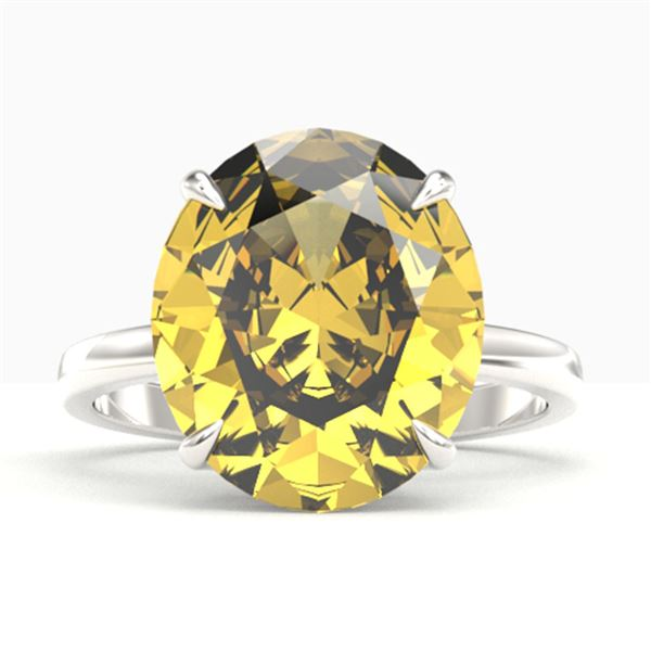 9 ctw Citrine Designer Solitaire Engagment Ring 18k White Gold - REF-40X9A