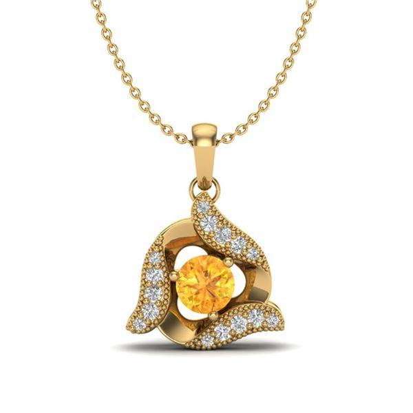 0.40 ctw Citrine & Micro Pave VS/SI Diamond Necklace 18k Yellow Gold - REF-22X5A