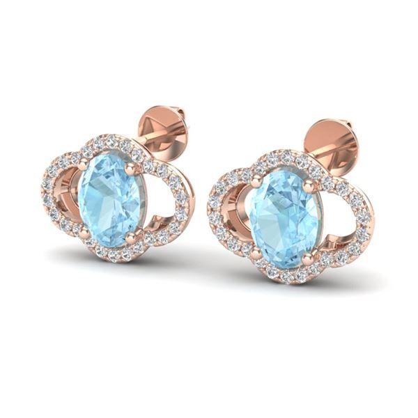 4 ctw Aquamarine & Micro Pave VS/SI Diamond Earrings 10k Rose Gold - REF-51G3W