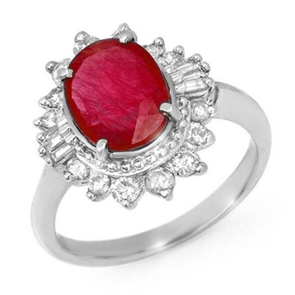 4.50 ctw Ruby & Diamond Ring 18k White Gold - REF-118G2W