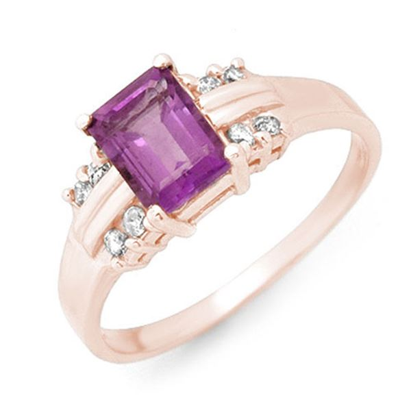 1.41 ctw Amethyst & Diamond Ring 18k Rose Gold - REF-26Y5X