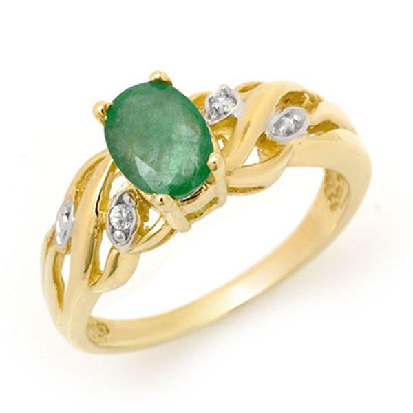 0.82 ctw Emerald & Diamond Ring 10k Yellow Gold - REF-15A2N