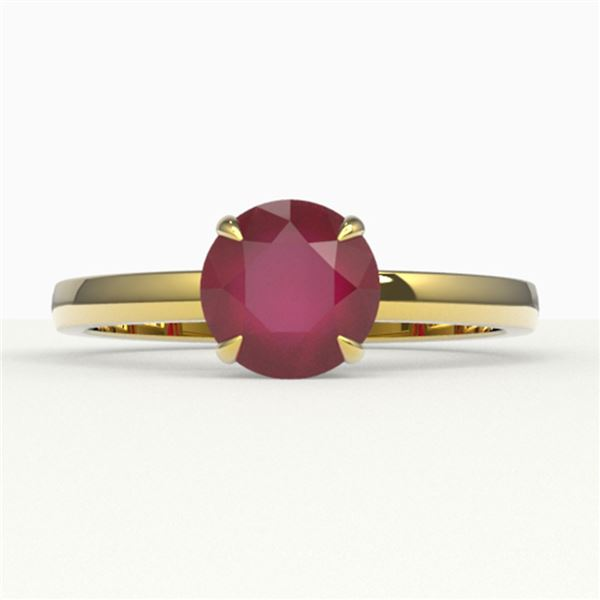2 ctw Ruby Designer Engagment Ring 18k Yellow Gold - REF-26A3N