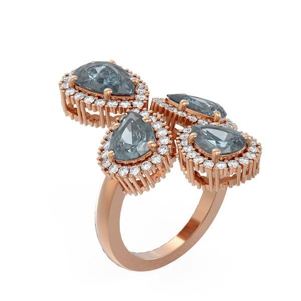 6.41 ctw Blue Topaz & Diamond Ring 18K Rose Gold - REF-188G8W