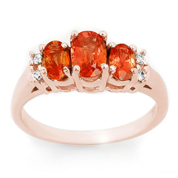 1.14 ctw Orange Sapphire & Diamond Ring 14k Rose Gold - REF-28H4R