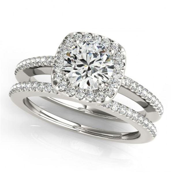 0.92 ctw Certified VS/SI Diamond 2pc Wedding Set Halo 14k White Gold - REF-101G2W