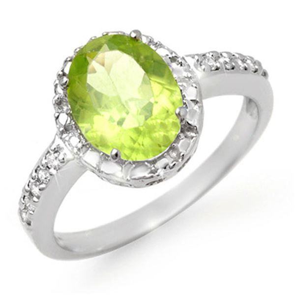 2.10 ctw Peridot & Diamond Ring 10k White Gold - REF-15F8M