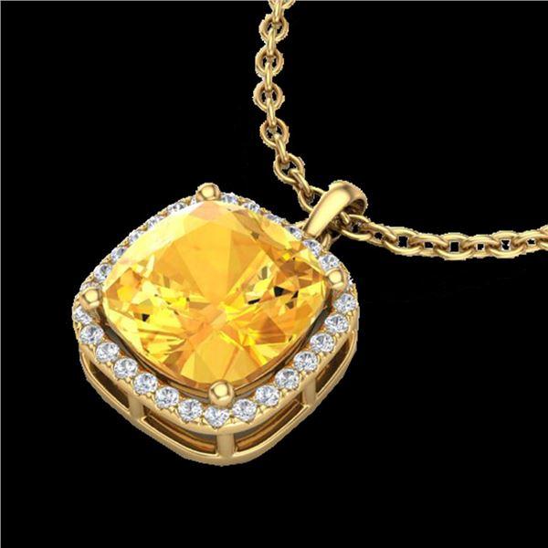 6 ctw Citrine & Micro Pave Halo VS/SI Diamond Necklace 18k Yellow Gold - REF-42R8K