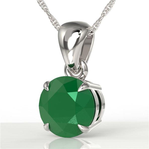 2 ctw Emerald Designer Solitaire Necklace 18k White Gold - REF-34W3H