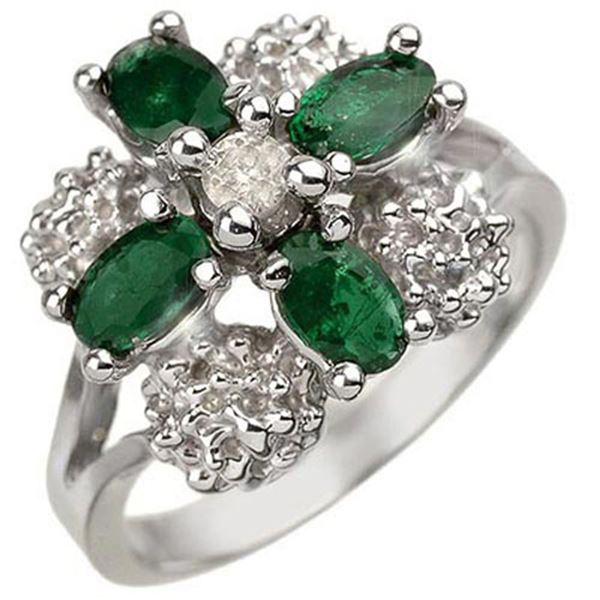 1.08 ctw Emerald & Diamond Ring 14k White Gold - REF-32X8A