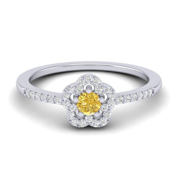 0.40 ctw Citrine & Micro VS/SI Diamond Ring 10k White Gold - REF-24K5Y