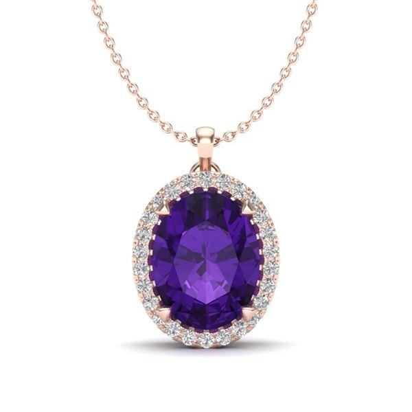 2.75 ctw Amethyst & Micro VS/SI Diamond Halo Necklace 14k Rose Gold - REF-28W9H