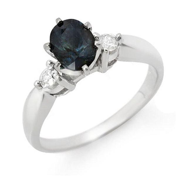 1.45 ctw Blue Sapphire & Diamond Ring 18k White Gold - REF-39G2W