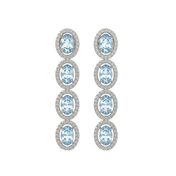 6.28 ctw Sky Topaz & Diamond Micro Pave Halo Earrings 10k White Gold - REF-143M6G