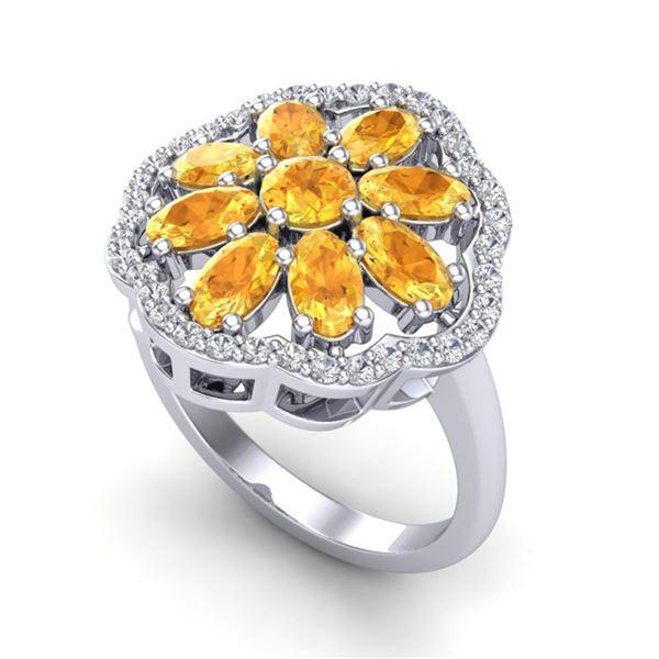 3 ctw Citrine & VS/SI Diamond Cluster Designer Ring 10k White Gold - REF-49Y3X