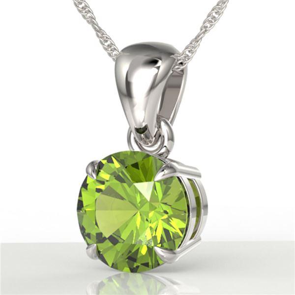 2 ctw Peridot Designer Necklace 18k White Gold - REF-20F9M
