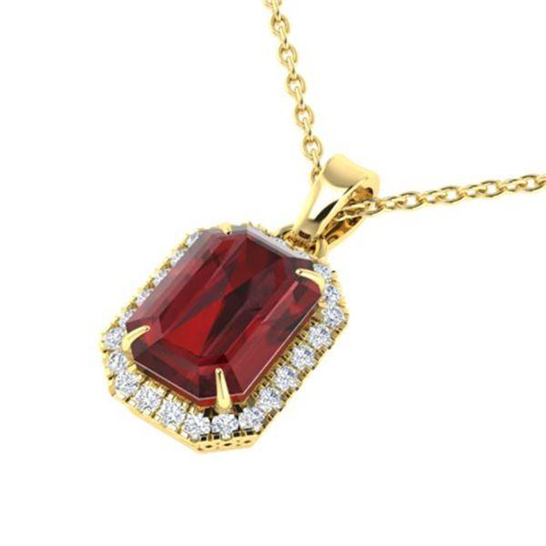 6 ctw Garnet & Micro Pave VS/SI Diamond Halo Necklace 18k Yellow Gold - REF-39K5Y