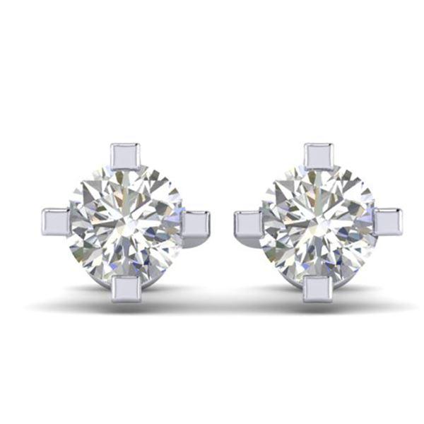 1 ctw Certified VS/SI Diamond Solitaire Stud Earrings 14k White Gold - REF-145N3F