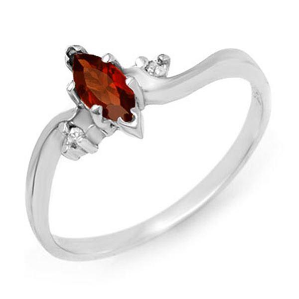 0.29 ctw Garnet & Diamond Ring 10k White Gold - REF-8F6M