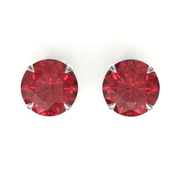 3 ctw Pink Tourmaline Designer Stud Earrings 18k White Gold - REF-49M3G