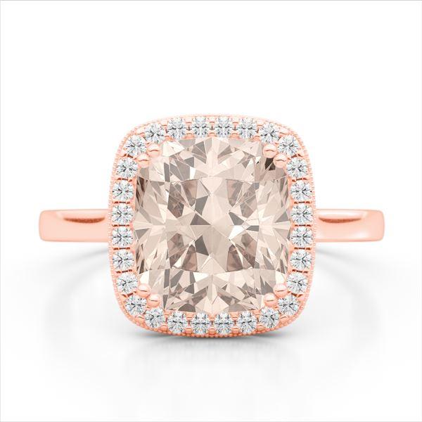 3 ctw Morganite & Micro Pave VS/SI Diamond Halo Ring 14k Rose Gold - REF-49R3K