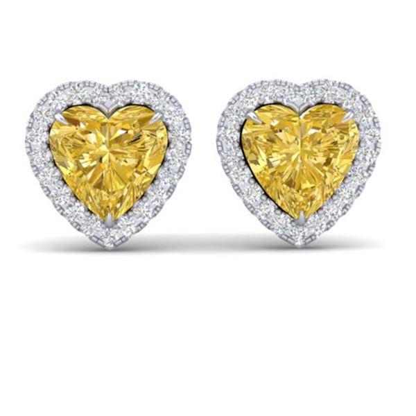2 ctw Citrine & Micro Pave VS/SI Diamond EARRRING Heart 14k White Gold - REF-38Y2X
