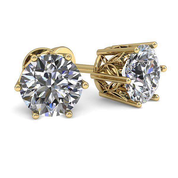 1.0 ctw Certified VS/SI Diamond Stud Earrings 18k Yellow Gold - REF-147G2W