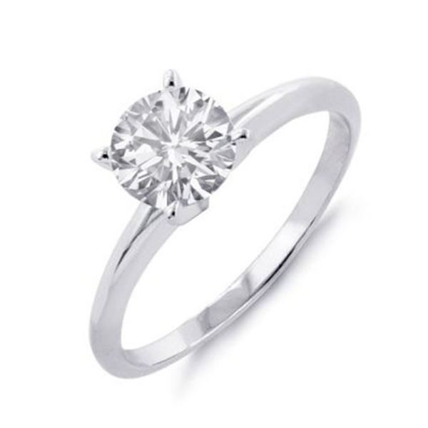 0.60 ctw Certified VS/SI Diamond Solitaire Ring 18k White Gold - REF-120X3A