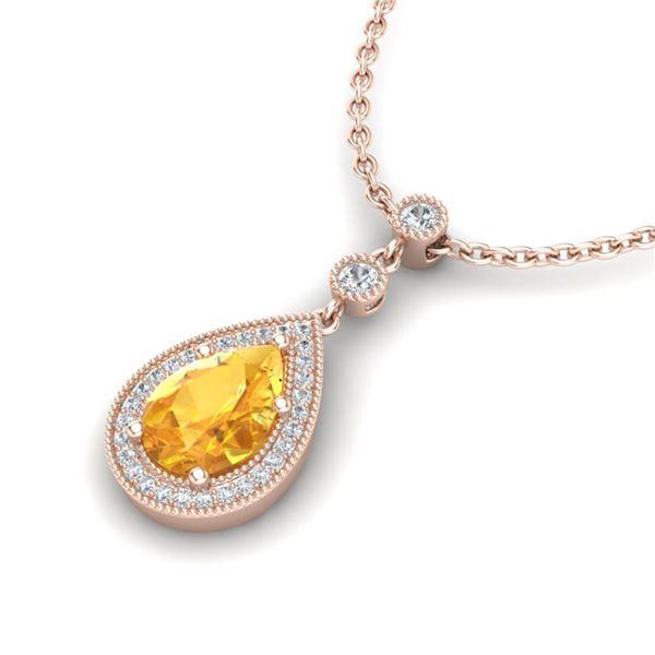 2.25 ctw Citrine & Micro Pave VS/SI Diamond Necklace 14k Rose Gold - REF-31W4H