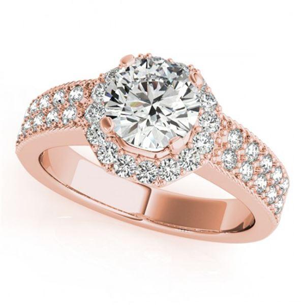 0.9 ctw Certified VS/SI Diamond Halo Ring 18k Rose Gold - REF-107M8G