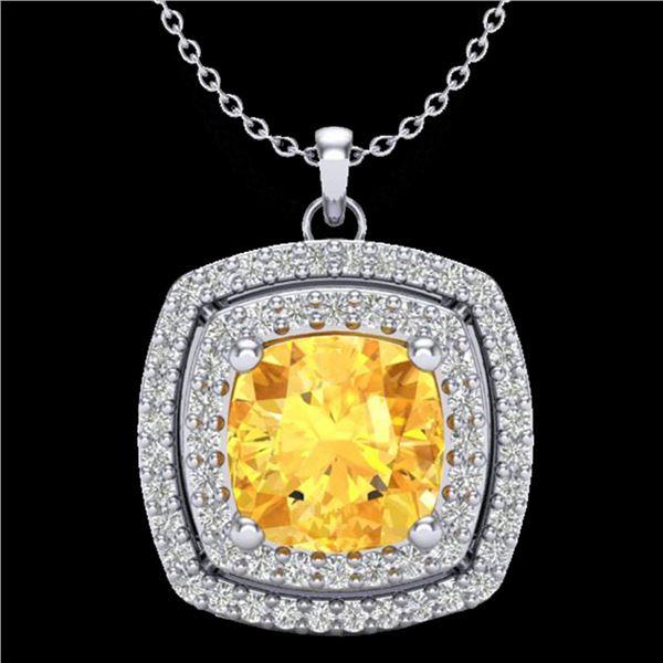 1.77 ctw Citrine & Micro Pave VS/SI Diamond Necklace 18k White Gold - REF-49M2G