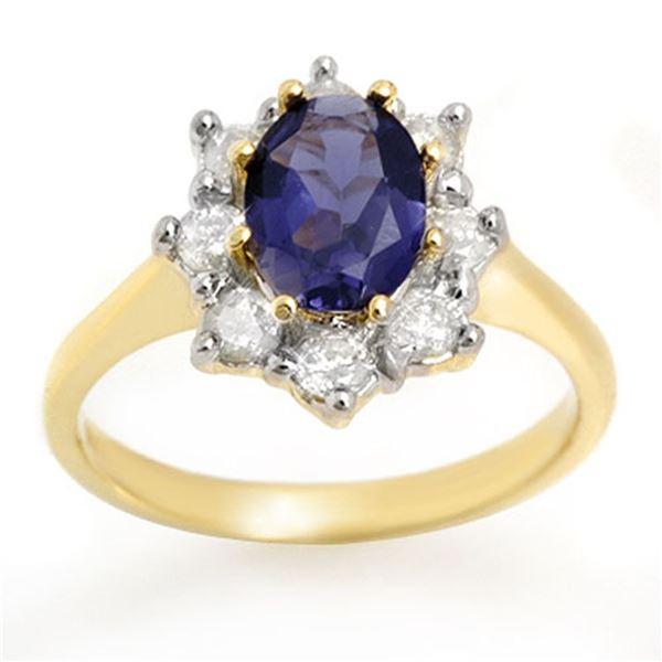1.75 ctw Kaynite & Diamond Ring 14k Yellow Gold - REF-95W8H