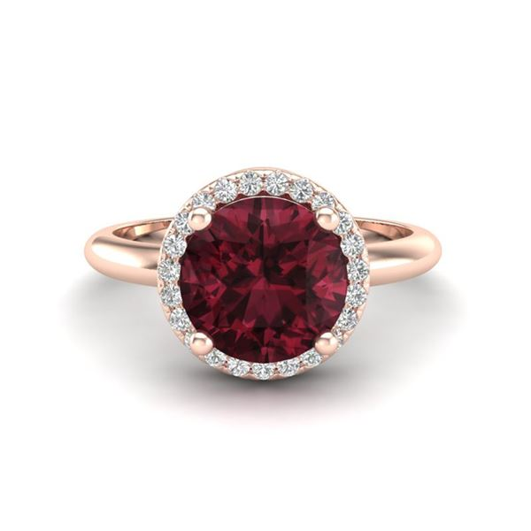 2.70 ctw Garnet & Micro Pave VS/SI Diamond Ring 14k Rose Gold - REF-34N2F