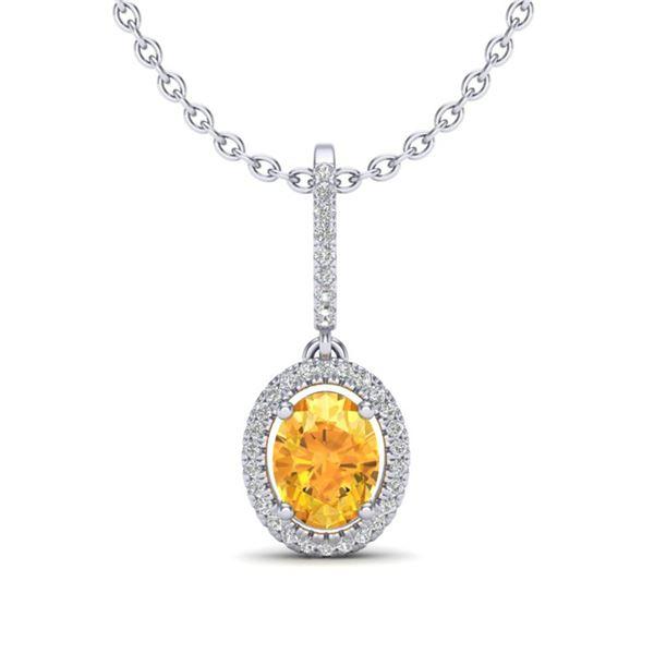 1.75 ctw Citrine & Micro Pave VS/SI Diamond Necklace 18k White Gold - REF-40M9G