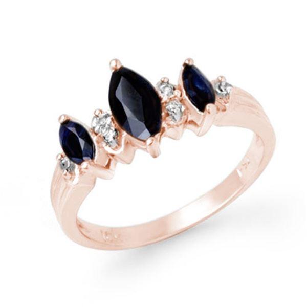 1.0 ctw Blue Sapphire & Diamond Ring 10k Rose Gold - REF-19K3Y