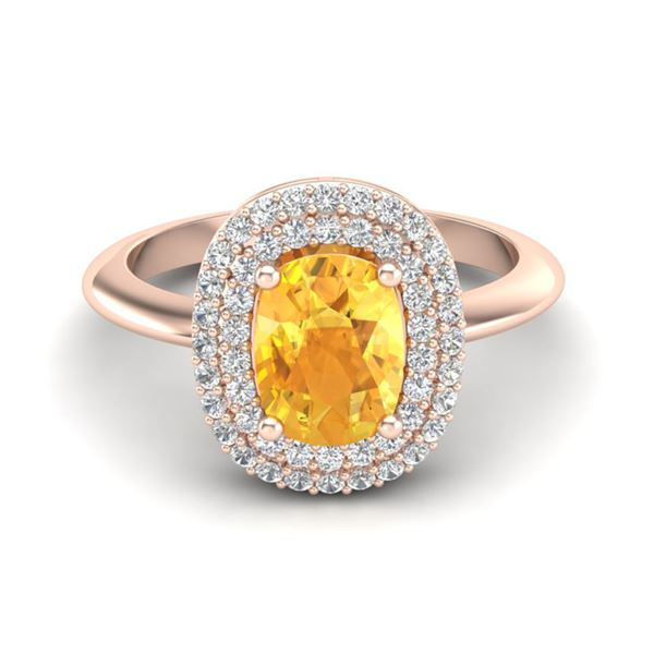 2.50 ctw Citrine With Micro Pave VS/SI Diamond Ring 14k Rose Gold - REF-49Y5X