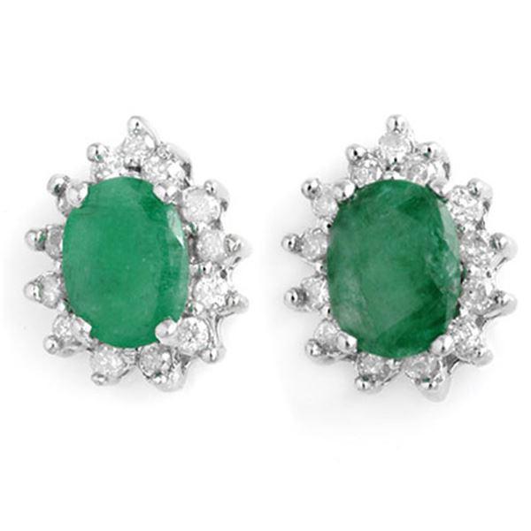 3.85 ctw Emerald & Diamond Earrings 14k White Gold - REF-89N3F