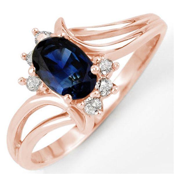 0.70 ctw Blue Sapphire & Diamond Ring 14k Rose Gold - REF-17M2G